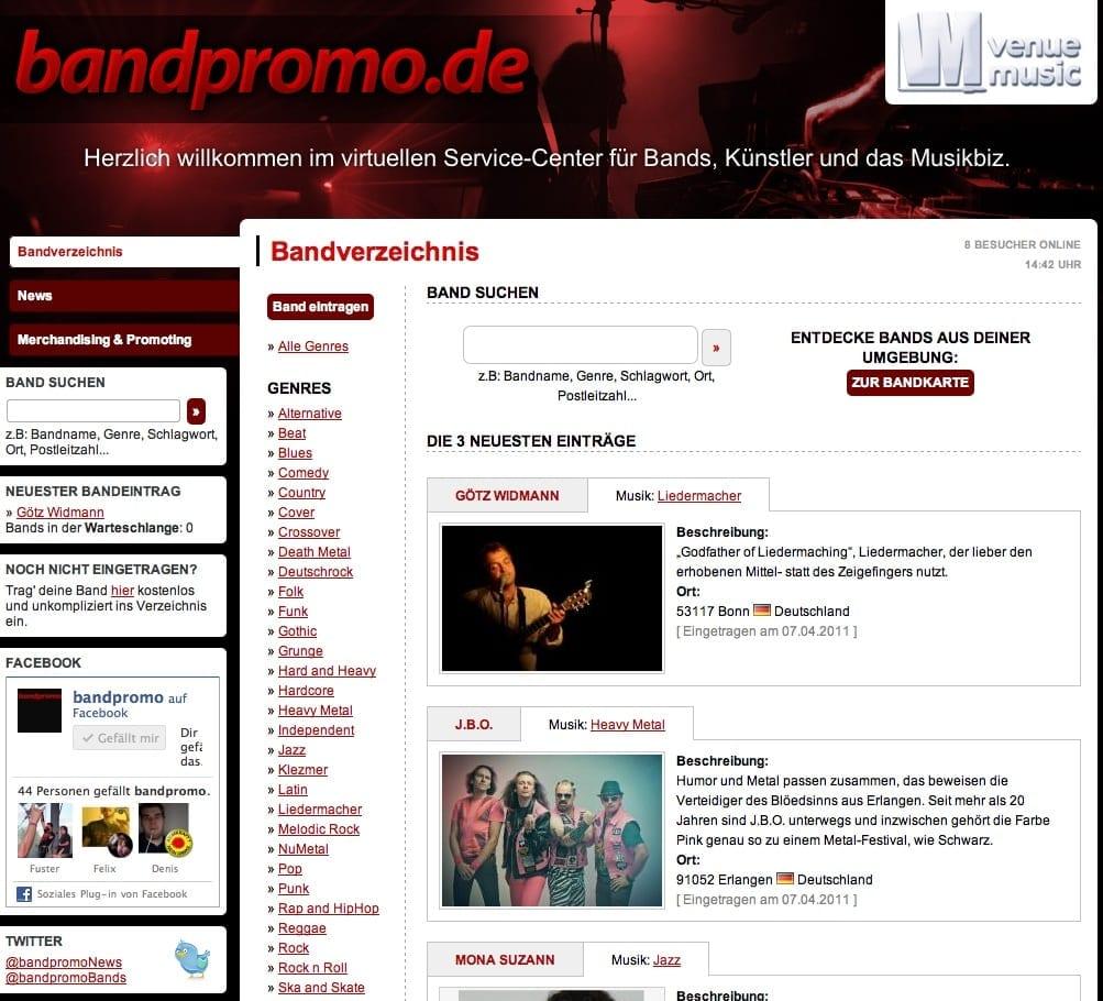 Screenshot: bandpromo.de