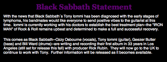 Statement: Black Sabbath, 09.01.2012