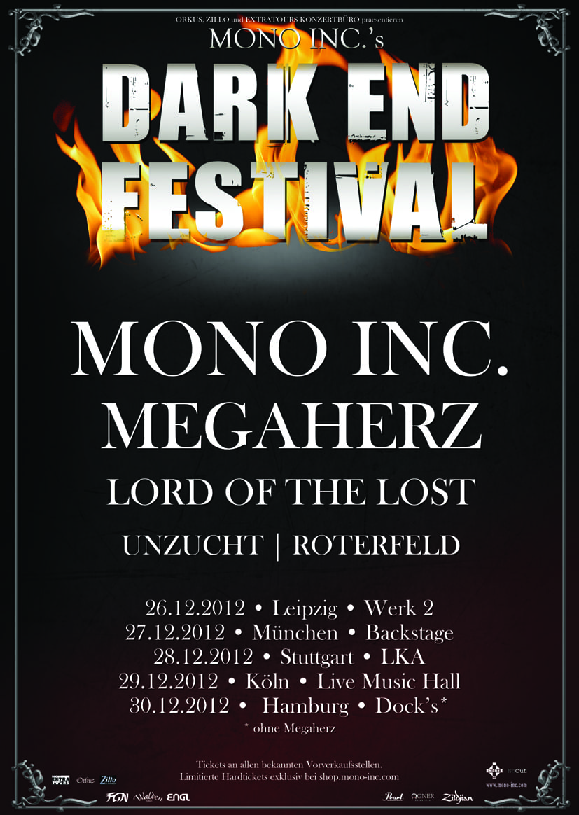 Official Flyer: Mono Inc. Dark End Festival 2012
