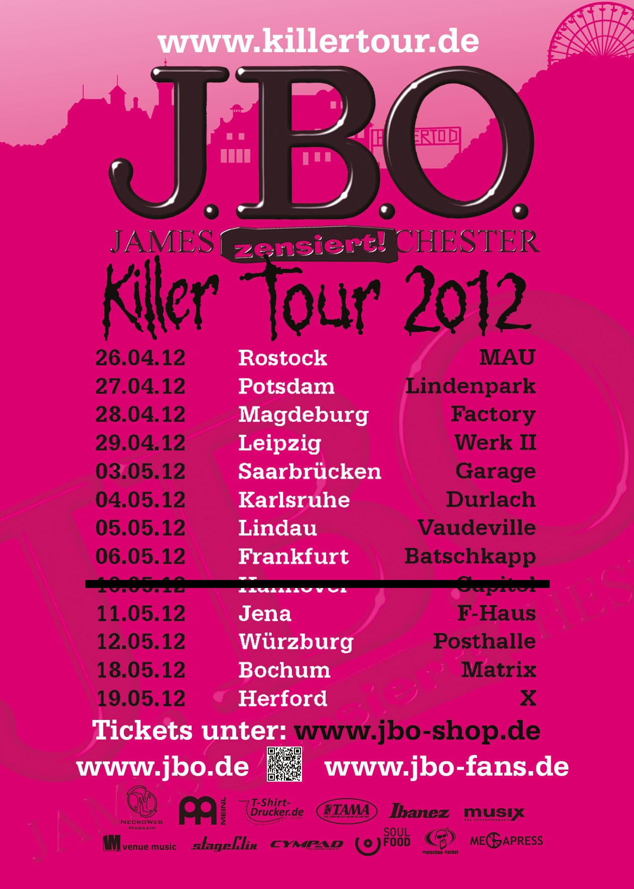 Flyer: J.B.O. Killer Tour 2012