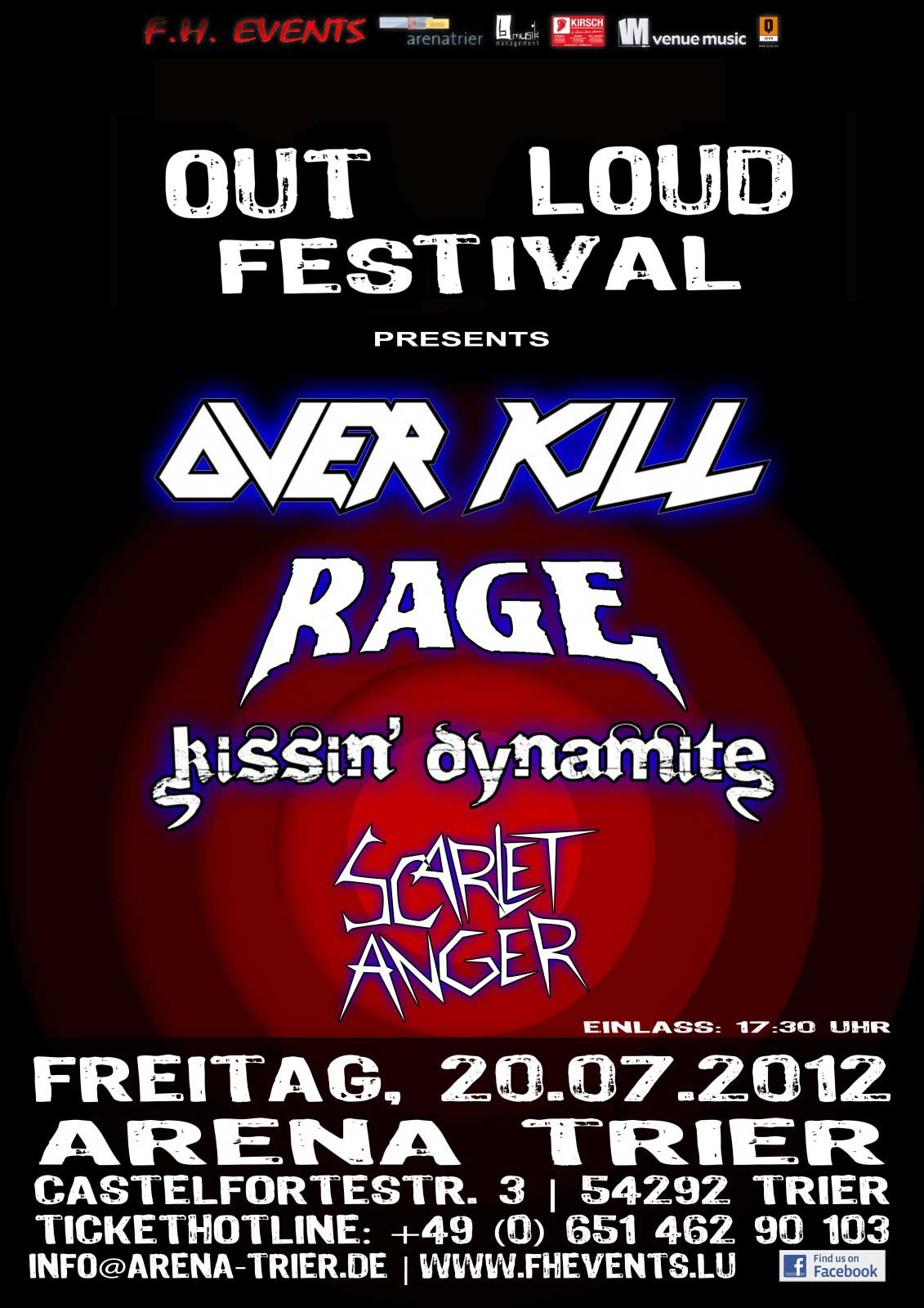Out Loud Festival 2012 - 20.07.2012 - Trier, Arena mit Scarlet Anger, kissin' dynamite, Rage und Overkill