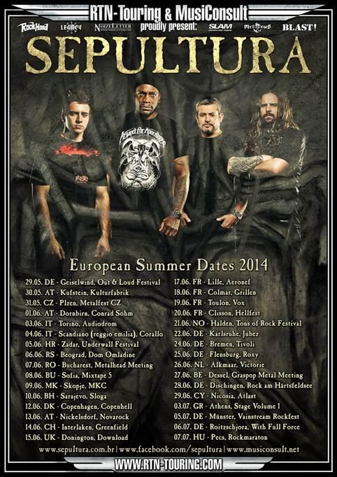 Flyer: Sepultura Tour 2014