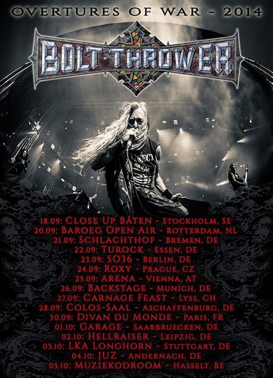 official Flyer: Bolt Thrower Tourdates 2014