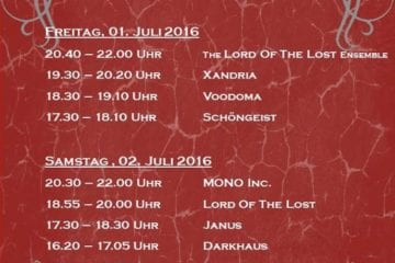 Flyer: Castle Rock 2016 - Running Order (Quelle: Castle Rock homepage / Michael Bohnes)