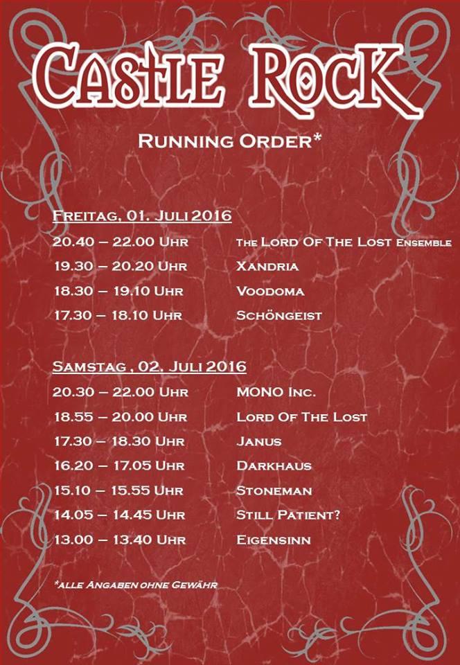 Flyer: Castle Rock 2016 - Running Order (Quelle: Castle Rock homepage / Michael Bohnes)