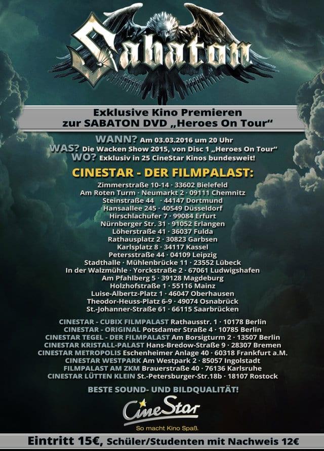 Flyer: Sabaton-Heroes on Tour