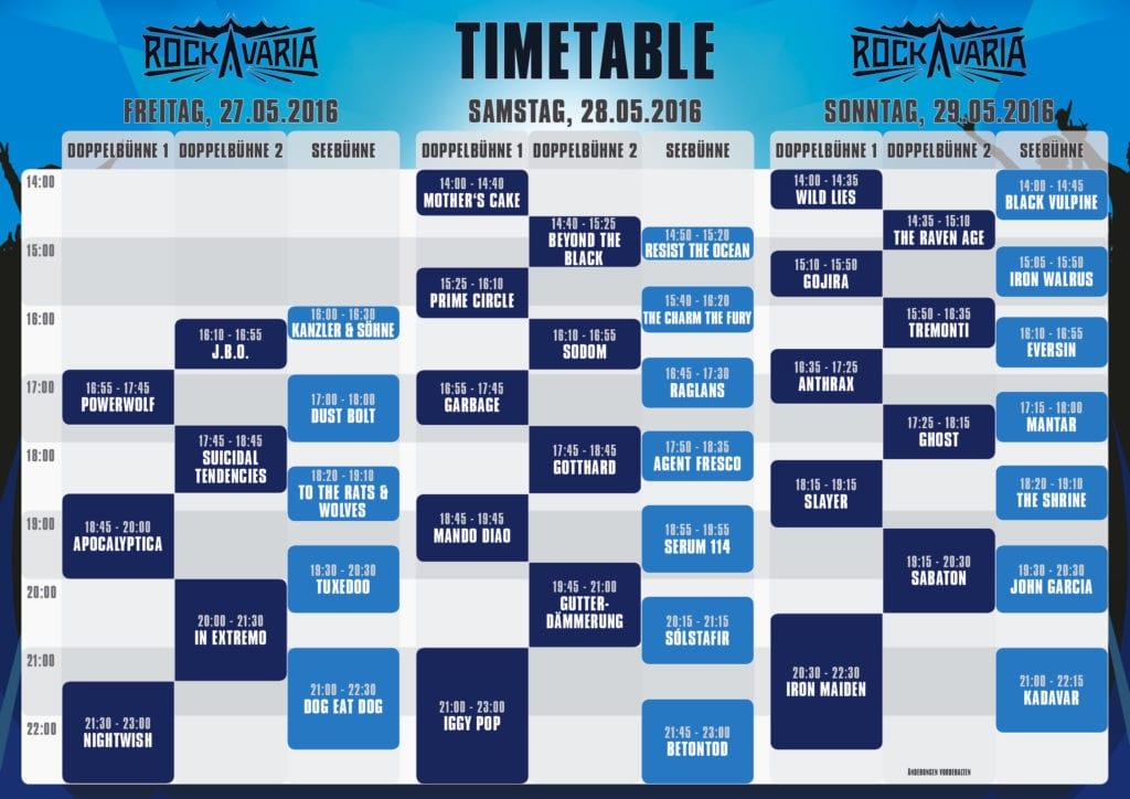 Rockavaria-Zeitplan