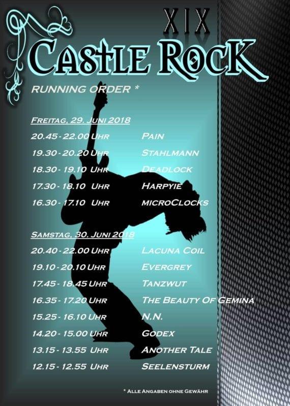Official Flyer: Castle Rock 2018 - Running Order (Quelle: Michael Bohnes / Castle Rock Festival)