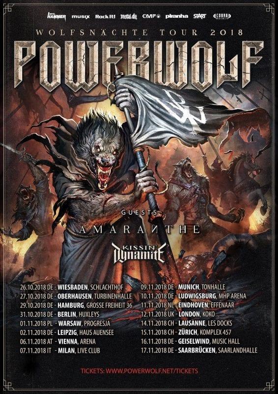 Powerwolf: Wolfsnächte Tour 2018 mit Amaranthe und Kissin' Dynamite