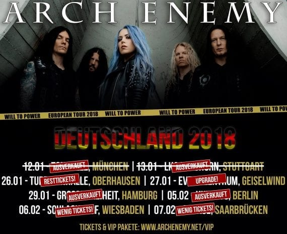 Official Flyer: Arch Enemy - Will to Power Tour 2018