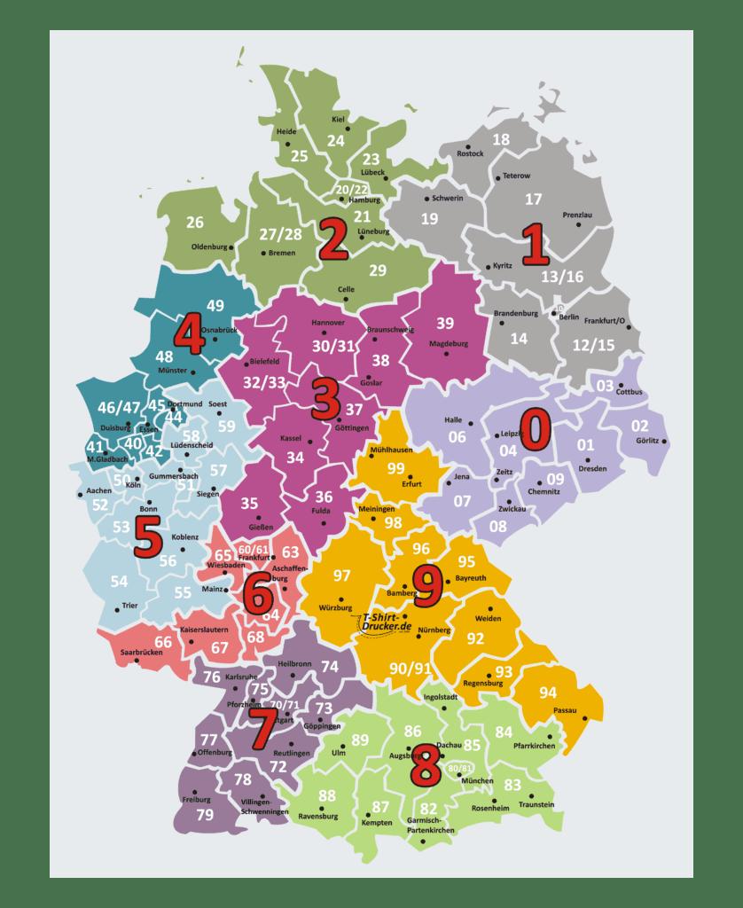 Postleitzahlen - Übersicht Deutschland