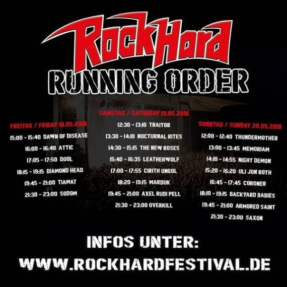 Rock Hard Festival 2018: Die Running Order ist online