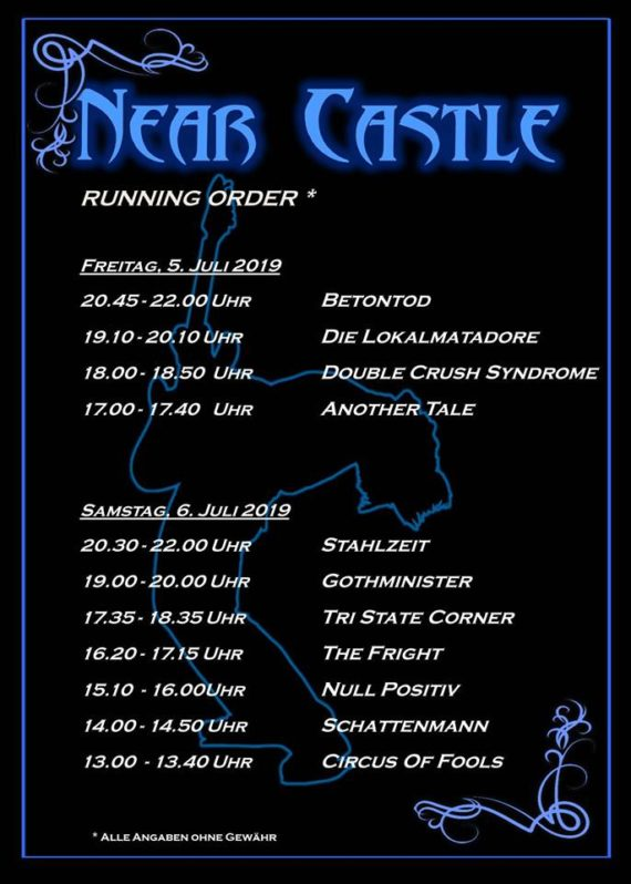 Running Order: Near Castle