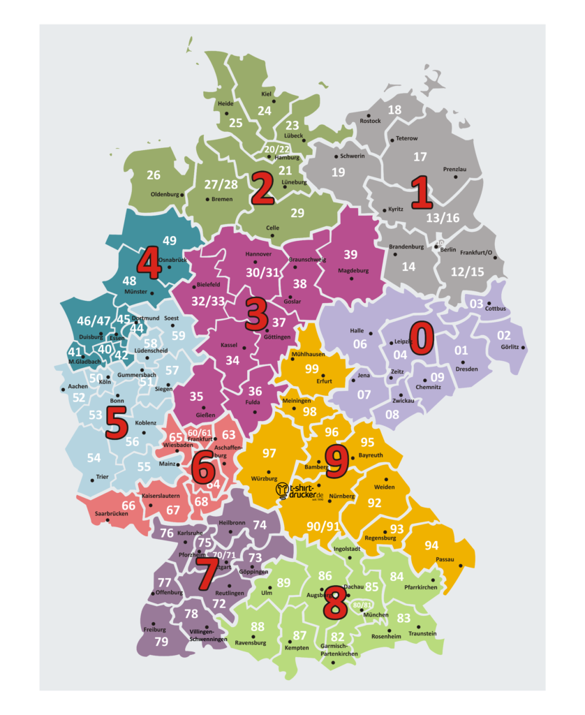 Postleitzahlen-Karte / PLZ-Karte